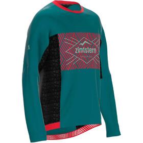 Zimtstern TechZonez LS Shirt Men pacific green/cyber red/granite green